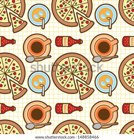 pizza seamless background - stock vector