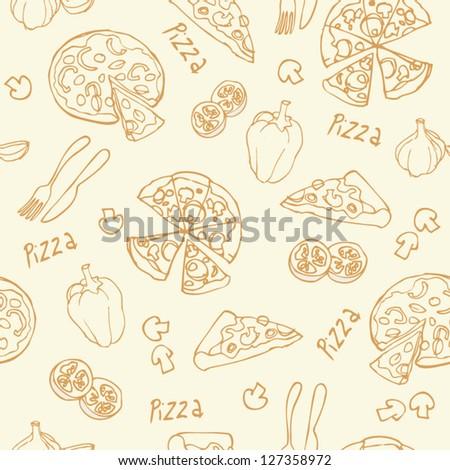 Pizza seamless background vector - stock vector