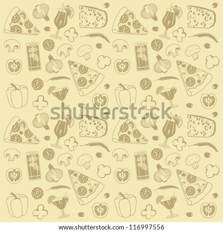 pizza seamless pattern - stock vector