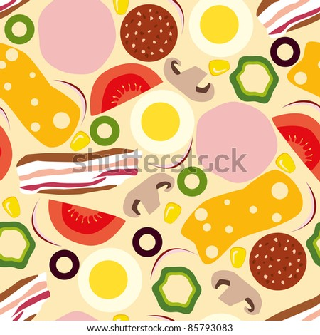 stock vector pizza seamless pattern 85793083 - Каталог — Фотообои «Еда, фрукты, для кухни»