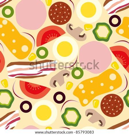 stock vector pizza seamless pattern 85793083 - Каталог — Фотообои «Еда, фрукты, для кухни»
