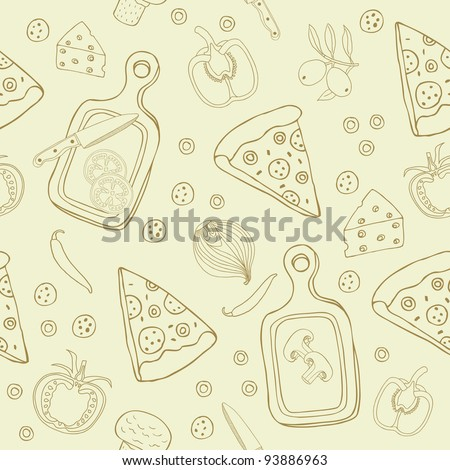 stock vector pizza seamless pattern 93886963 - Каталог — Фотообои «Еда, фрукты, для кухни»