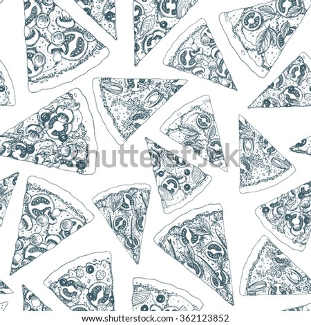 Pizza seamless pattern. Pizza background. Vector illustration - stock vector