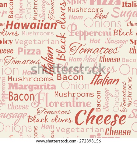 Pizza seamless pattern. Useful for restaurant identity, packaging, menu design and interior decorating. - stock vector