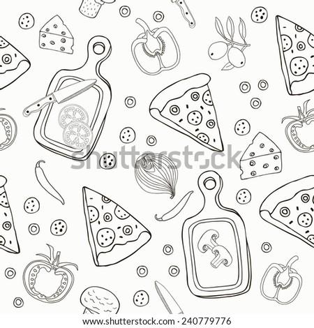 Pizza seamless pattern. Vector illustration. - stock vector