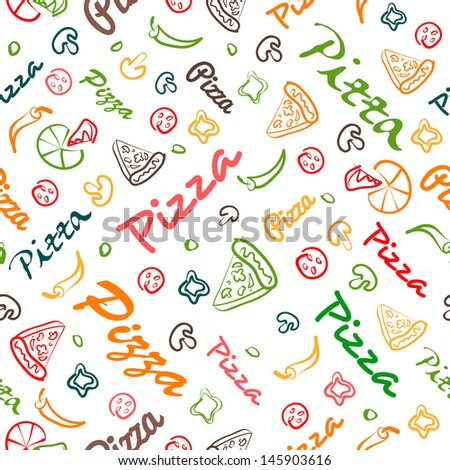 pizza seamless pattern with hand drawn elements eps8 - stock vector