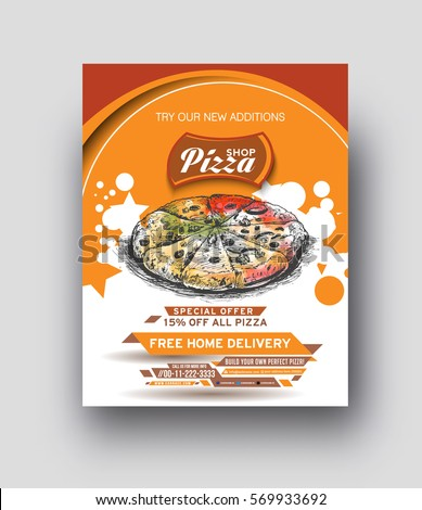 Pizza Shop flyer & Poster Template Vector