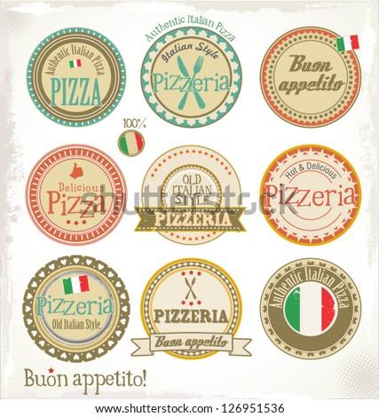 Pizza stamp - set - stock vector