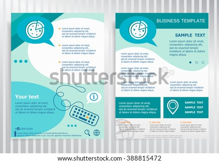 Pizza symbol. Pizza icon on vector Brochure. Flyer design. Layout template, size A4.  - stock vector