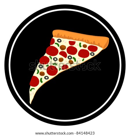 Pizza Symbol with Slice of Supreme Pizza - Vector Illustration. (high resolution JPEG also available). - stock vector