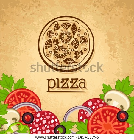 Pizza. Vintage fast food background. - stock vector