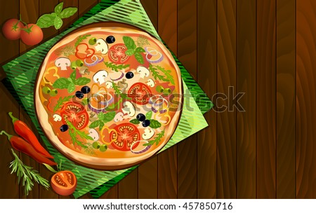 Pizza with mushroom and tomato, chilli, herbs on board on napkin on wooden background. Illustration for pizza menu or pizzeria interior design. Text place. Vector illustration stock vector. - stock vector
