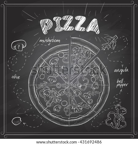 Pizza with mushrooms sketch on a black board - stock vector