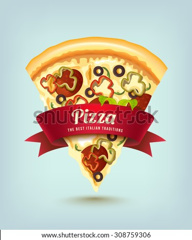 Pizza with red ribbon (a slice of pizza with sausage) - stock vector
