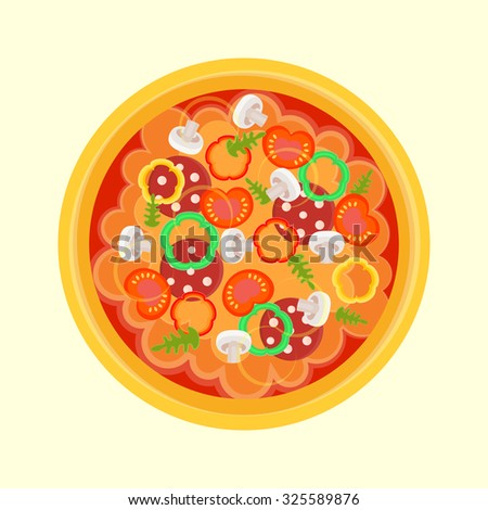 pizza with sausage, peppers, mushrooms, arugula, tomatoes and fragrant cheese. Vector Illustration EPS10.