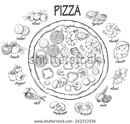 Pizza with set of pizza ingredients for design menu. Vintage fast food background. Hand drawn illustration  - stock vector