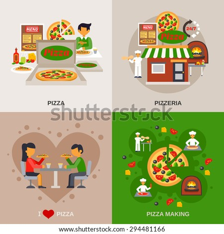 Pizzeria concept icons set with cooking date in a cafe and packaging flat isolated vector illustration  - stock vector