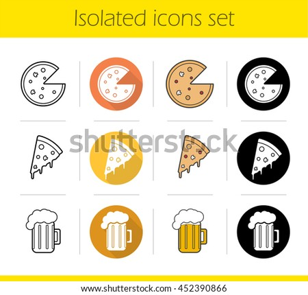 Pizzeria icons set. Flat design, linear, black and color styles. Pizza slice, foamy beer mug. Isolated vector illustrations - stock vector