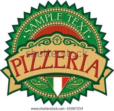 pizzeria label design - stock vector