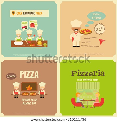 Pizzeria. Meal in Cafe and Pizza Making. Flat Design. Mini Posters Set. Vector Illustration. - stock vector