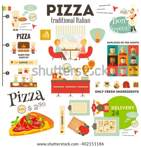 Pizzeria. Meal in Cafe and Pizza Making. Flat Design. Pizzeria Infographic. Vector Illustration. - stock vector