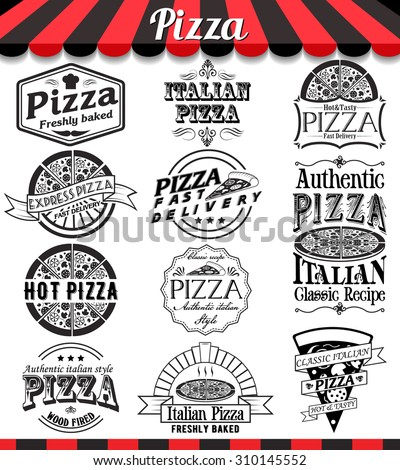 """Pizzeria menu vintage design elements and badges set. Collection of vector pizza signs, symbols and icons. See more in set """"Labels"""" of my portfolio - stock vector"""