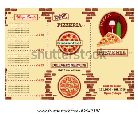 Pizzeria - take away Italian restaurant leaflet. Three fold, standard size A 4. Vector file saved as EPS AI8, no effects, easy print.