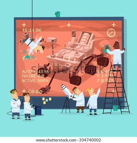 Placard representing space scientists watching broadcast from Mars research rover, preparing screen for presentation. - stock vector