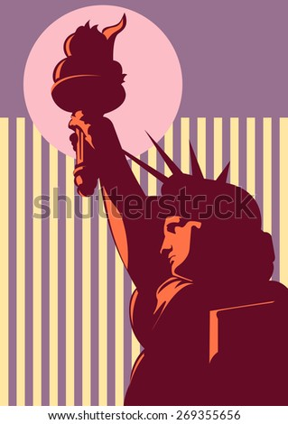 Placard with American statue liberty; New York symbol - stock vector