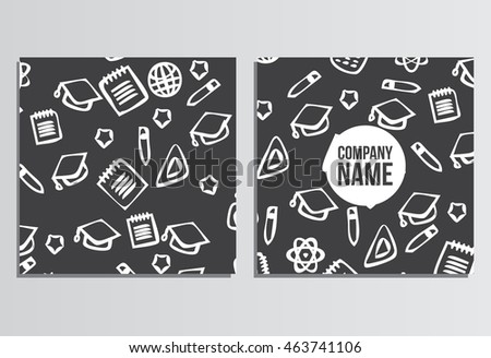 Placards, Banner. Back to school background. Branding template with back to school pattern