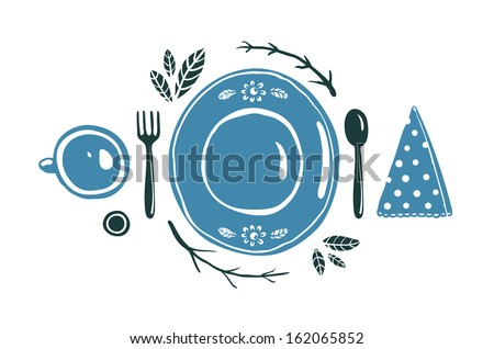 Place Setting Design with Plate Spoon Fork and Cup. Vector EPS8 illustration. - stock vector