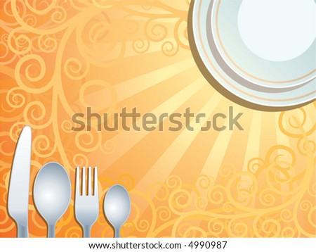 Place setting, vector - stock vector