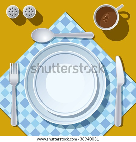 Place setting with plate, fork, spoon and knife - stock vector
