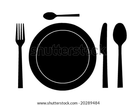 Place setting with plate in vector format - stock vector