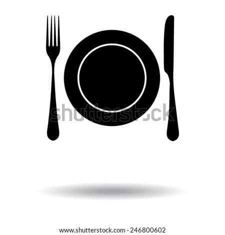 Place setting with plate, knife and fork - stock vector