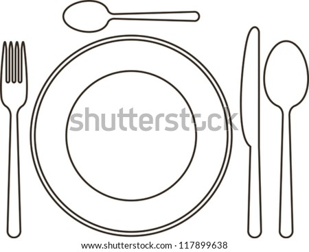 Place Setting Plate Knife Spoons Fork Stock Vector