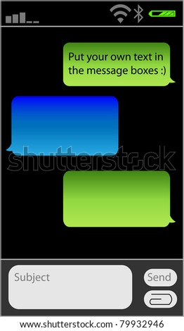 Place your own text in the message boxes, messaging on mobile phones - stock vector