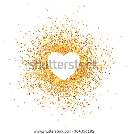 Placer gold bright sparkles glittering confetti a heart shaped on a white background for Valentines Day - stock vector