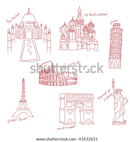 places from the world - stock vector