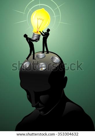 Placing Bright Idea-Teamwork businessmen setting up idea bulb on the head - stock vector