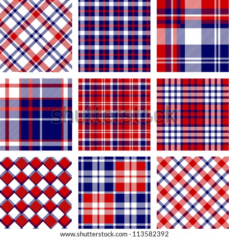 Plaid patterns, american flag colors - stock vector