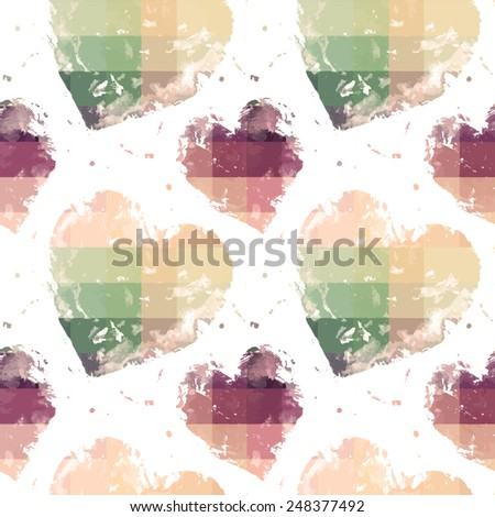 Plaid seamless pattern with hearts - stock vector