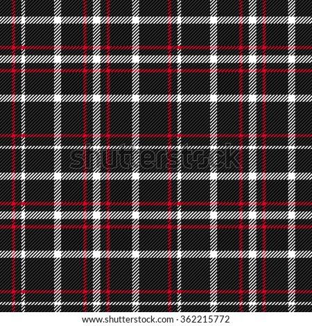 Plaid tartan checkered seamless pattern. Red, black, white. Vector - stock vector