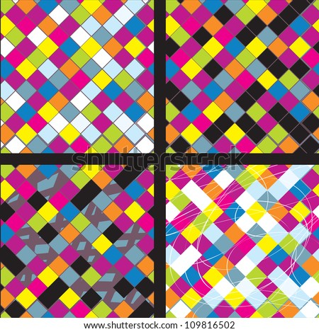 Plaid whimsical seamless patterns collection - stock vector