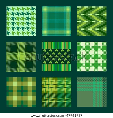 plaids and check patterns in green tones - stock vector