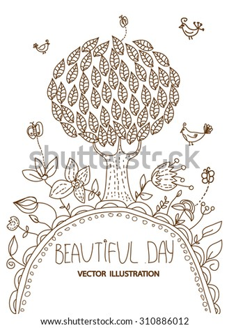 plain background, tree with flowers and butterflies and birds and the inscription beautiful day - stock vector