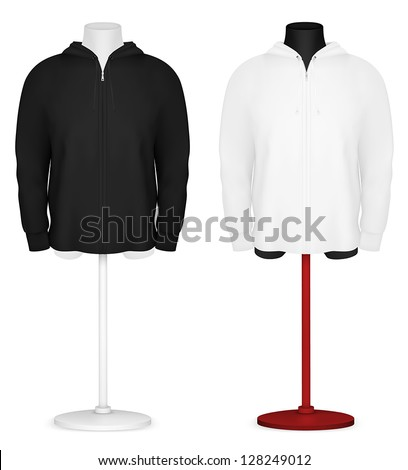 Plain long sleeve hooded jacket on mannequin torso template. - stock vector