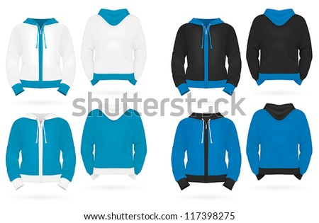 Plain long sleeve hooded sweatshirt template.