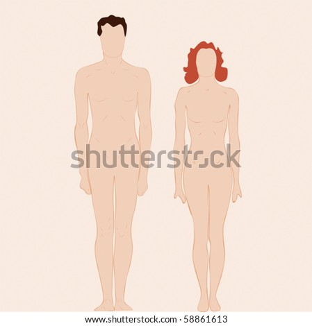 Plain man and woman body/Figures of a man and a woman. - stock vector