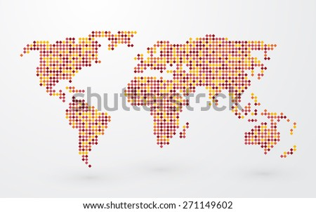 plain map of the world of colored squares - stock vector
